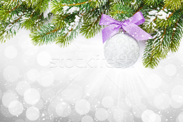 Christmas colorful decor and snow fir tree Stock photo © karandaev