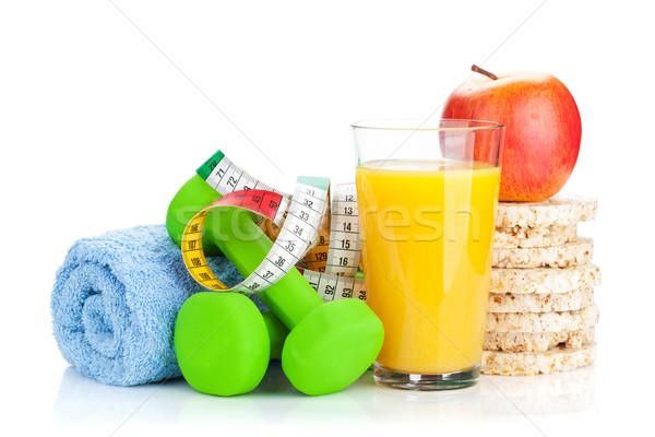 Dois verde fita métrica alimentação saudável fitness saúde Foto stock © karandaev