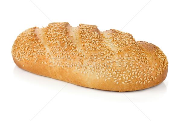 Fehér kenyér szezám izolált fehér kenyér vacsora Stock fotó © karandaev