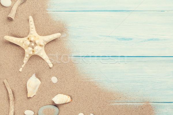 Zee zand zeester schelpen houten tafel top Stockfoto © karandaev