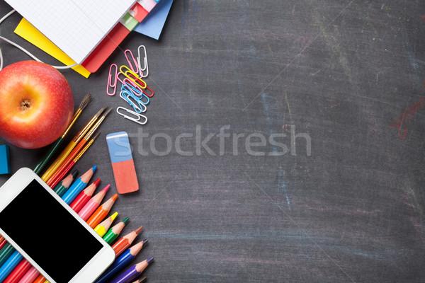 Stock fotó: Tanszerek · iskolatábla · iskola · irodaszerek · felső · kilátás