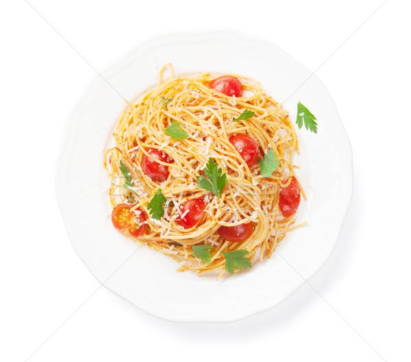 Spagetti makarna domates maydanoz yalıtılmış beyaz Stok fotoğraf © karandaev