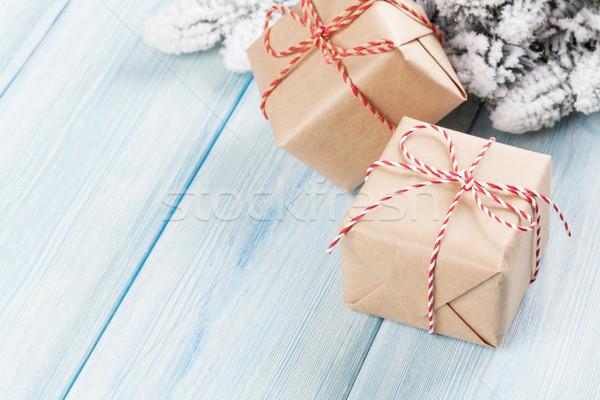 Photo stock: Noël · coffrets · cadeaux · arbre · de · noël · branche · neige · bois