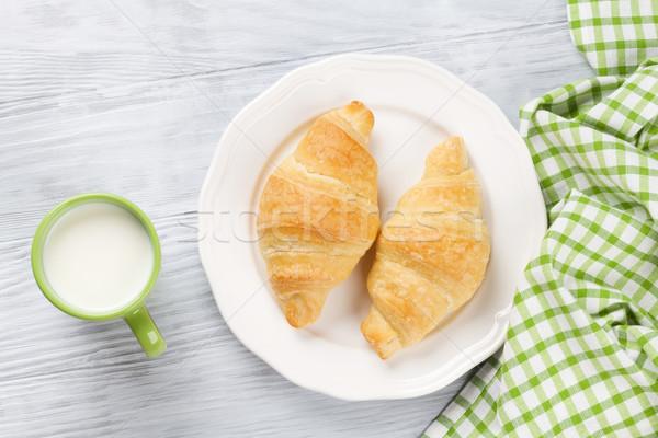 Stockfoto: Vers · croissants · melk · houten · tafel · top