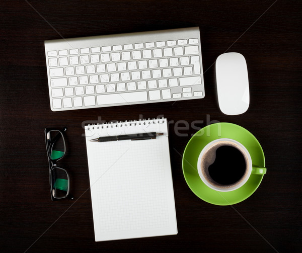 Office desk workplace with pc, notepad and coffee Stock photo © karandaev