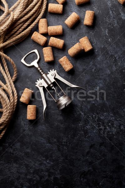 ワイン コークスクリュー 暗い 石 先頭 表示 ストックフォト © karandaev