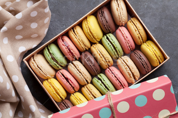 Stock photo: Colorful macaroons in a box