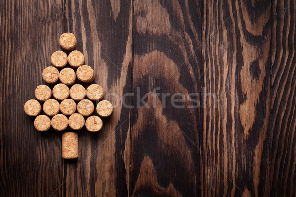 Wine corks shaped christmas tree Stock photo © karandaev