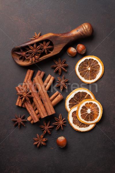 Anason tarçın baharatlar turuncu somun eski Stok fotoğraf © karandaev