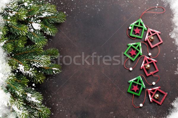 Navidad nieve decoración piedra superior Foto stock © karandaev