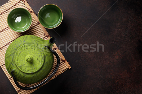 Yeşil demlik taş tablo üst Stok fotoğraf © karandaev
