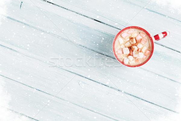 горячий шоколад проскурняк деревянный стол Top мнение копия пространства Сток-фото © karandaev