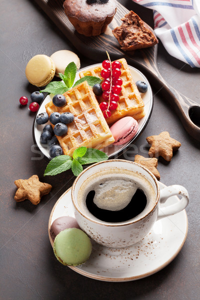Coffee, sweets and waffles Stock photo © karandaev