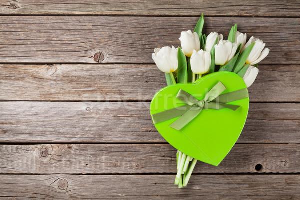 White tulips bouquet and gift box Stock photo © karandaev