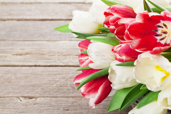Stock photo: Colorful tulips bouquet basket. Red and white