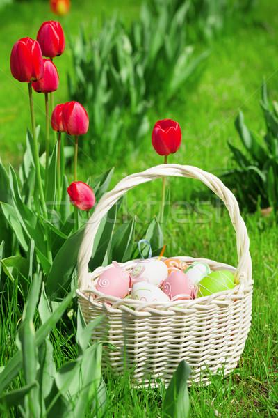 Easter eggs basket and tulip flowers Stock photo © karandaev