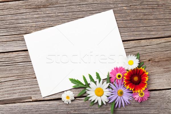 Blank greeting card and flowers Stock photo © karandaev