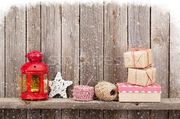 Karácsony gyertya lámpás ajándékok dekoráció fából készült Stock fotó © karandaev