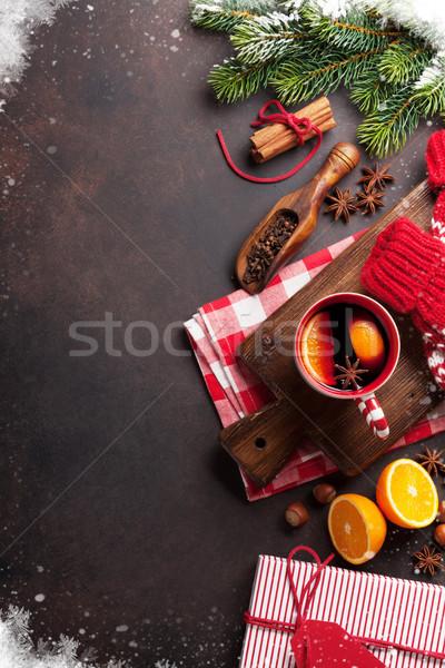 Stockfoto: Christmas · wijn · ingrediënten · top · exemplaar · ruimte