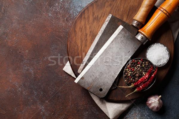 Stockfoto: Vintage · keuken · specerijen · oude · steen