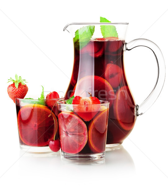 Sangria jug and two glasses Stock photo © karandaev