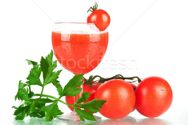 Vers tomatensap groene groep Rood cocktail Stockfoto © karandaev