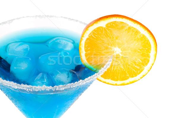 Cóctel colección azul martini rodaja de naranja aislado Foto stock © karandaev