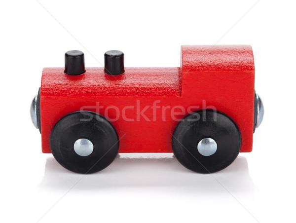 Ahşap oyuncak tren yalıtılmış beyaz bebek eğitim Stok fotoğraf © karandaev