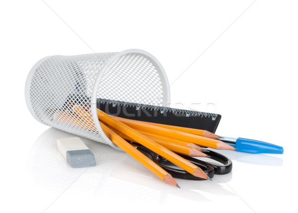 Pencils, pens, ruler, scissors and rubber Stock photo © karandaev