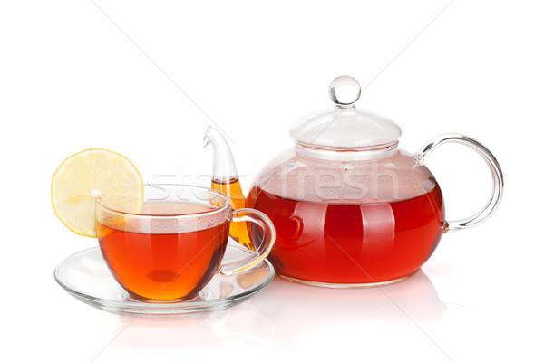 üveg teáskanna csésze fekete tea citromszelet Stock fotó © karandaev