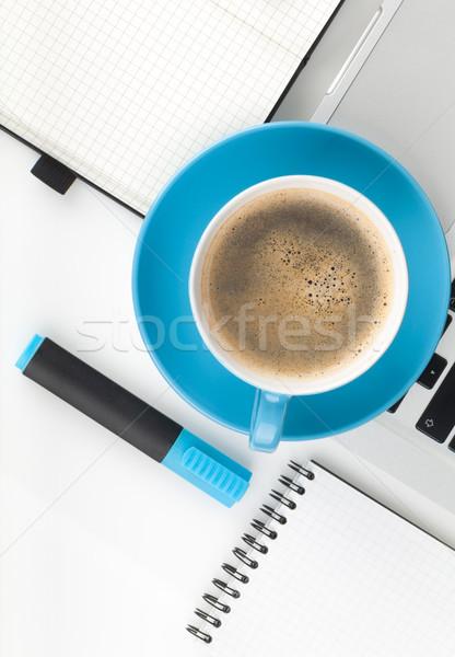 Kék kávéscsésze irodaszerek felülnézet fehér üzlet Stock fotó © karandaev