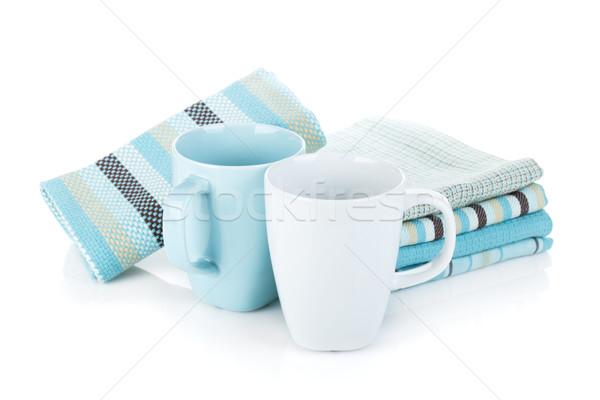 ストックフォト: キッチン · タオル · ティーカップ · 孤立した · 白 · テクスチャ