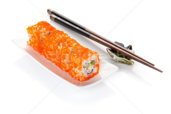Sushi maki Çin yemek çubukları yalıtılmış beyaz plaka Stok fotoğraf © karandaev
