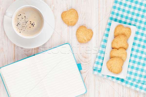 Coffee, heart shaped cookies and notepad Stock photo © karandaev