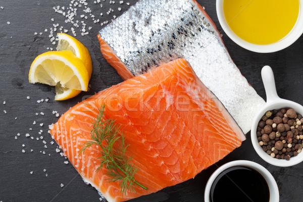 лосося специи каменные таблице Top мнение Сток-фото © karandaev