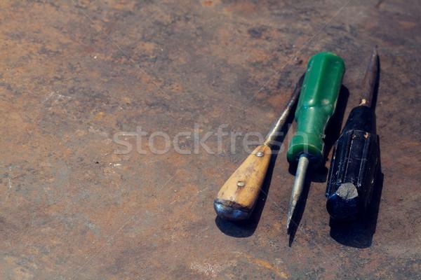 Stock fotó: Fém · asztal · öreg · szerszámok · felső · kilátás