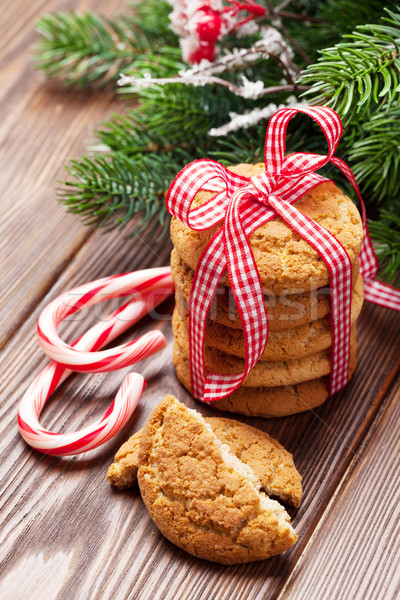 Stock photo: Christmas gingerbread cookies, candy cane and tree