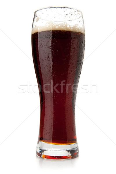 Dark beer with water drops Stock photo © karandaev