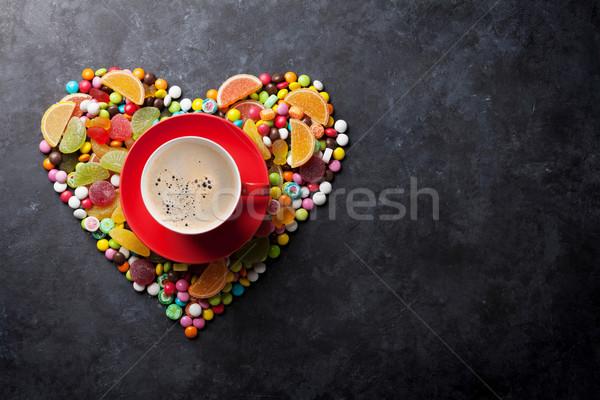 Cukorkák zselé szív kávé színes kávéscsésze Stock fotó © karandaev