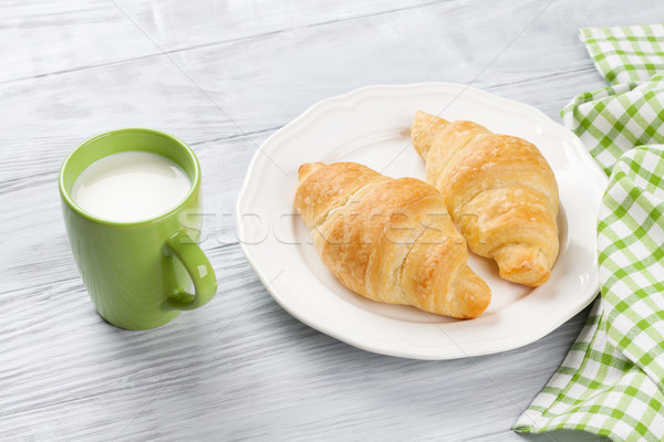 Fresh croissants and milk Stock photo © karandaev