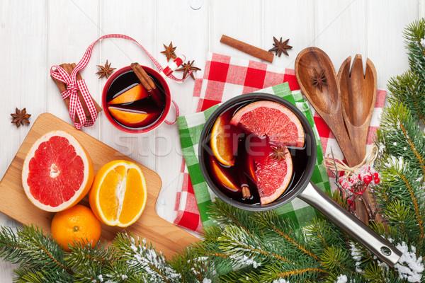 Stockfoto: Christmas · wijn · houten · tafel · voedsel · hout