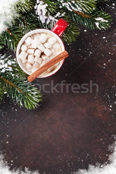 Foto stock: Navidad · chocolate · caliente · malvavisco · superior · vista
