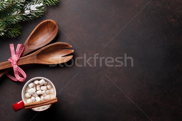 Natale cioccolata calda marshmallow top view Foto d'archivio © karandaev