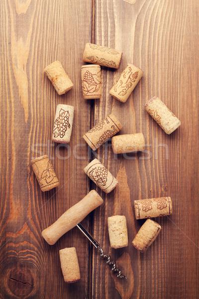 Wine corks and corkscrew Stock photo © karandaev