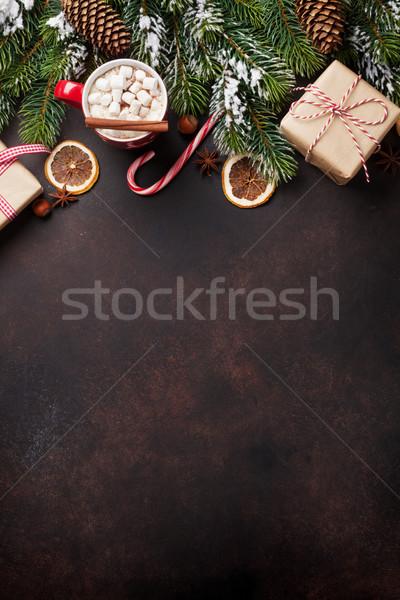 Stock fotó: Karácsony · forró · csokoládé · mályvacukor · fenyőfa · kilátás · copy · space