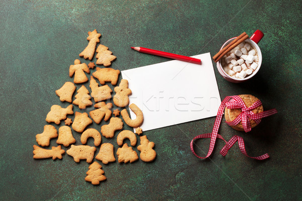 Stock photo: Gingerbread cookies christmas tree and greeting card