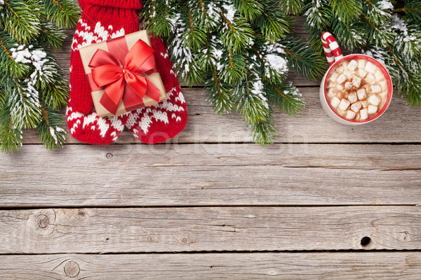 Christmas fir tree, gift box, hot chocolate Stock photo © karandaev