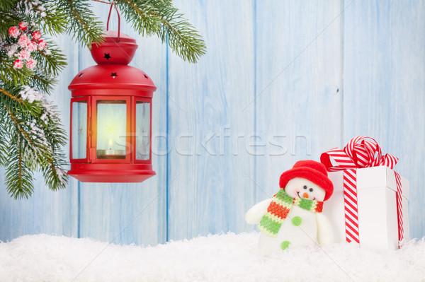 Karácsony gyertya lámpás ajándék doboz hóember játék Stock fotó © karandaev