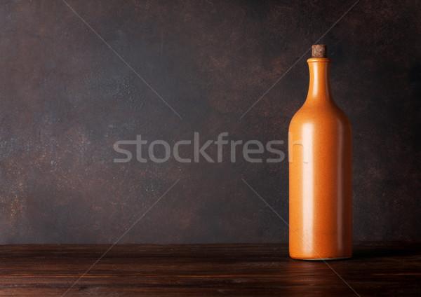 Vino rosso bottiglia lavagna muro copia spazio alimentare Foto d'archivio © karandaev