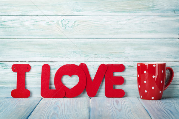 Walentynki kartkę z życzeniami gorący napój kubek miłości słowo Zdjęcia stock © karandaev